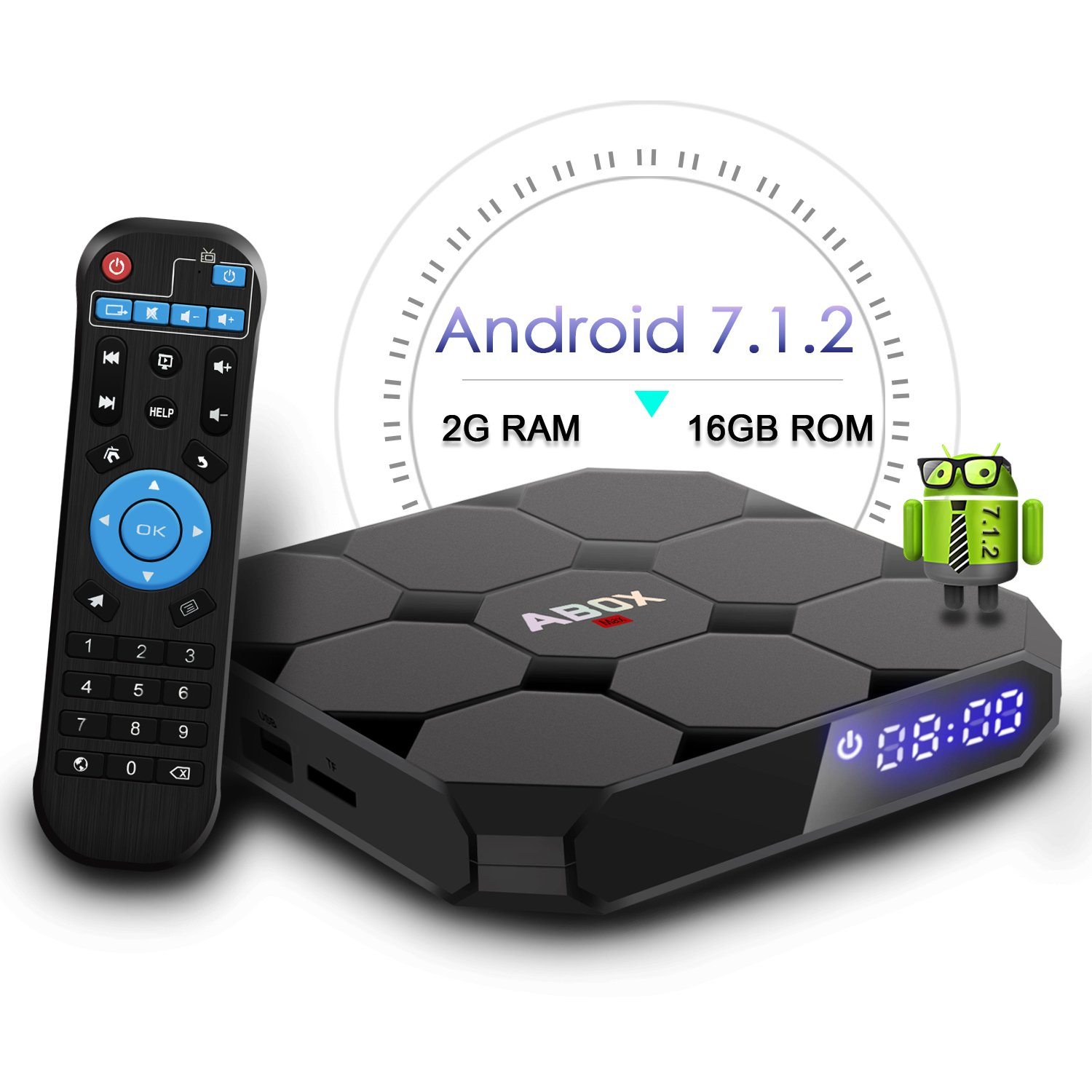 2018 Model GooBang Doo ABOX A1 max Android 7.1 TV Box, 2GB RAM 16GB ROM Bluetooth 4.0 Amlogic S905W Quad Core A53 Processor 64 Bits by GooBang Doo