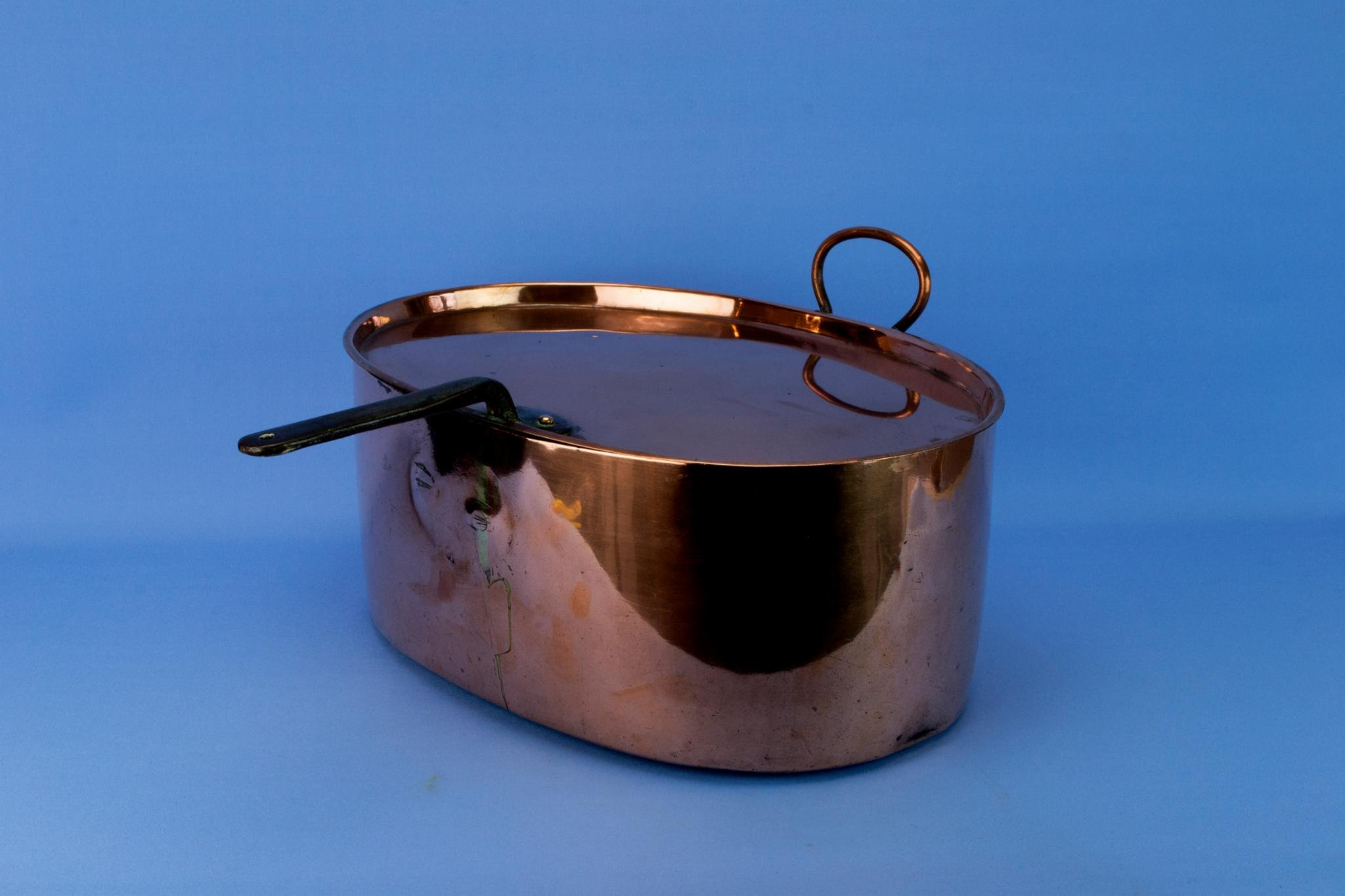 Large Copper Pan Lid Cooking Pot Oval Antique Edwardian English Early 1900s Iron Handle