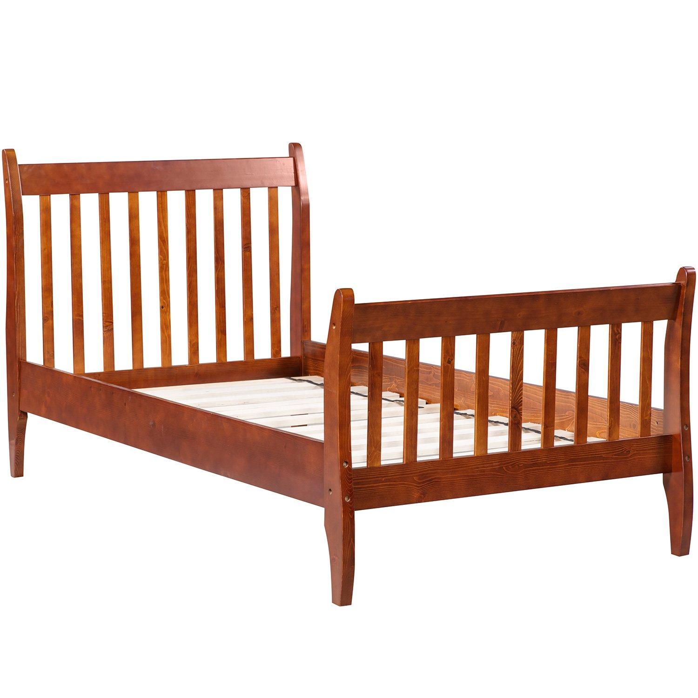 Merax with Wood Slat Support, Twin (Walnut.) Platform Bed Frame Mattress Foundation by Merax (Image #2)