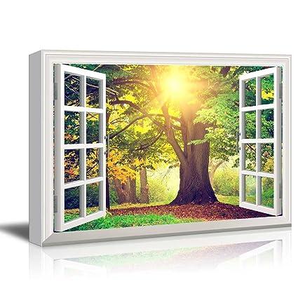 Amazon.com: wall26 - Creative Window View Canvas Prints Wall Art ...