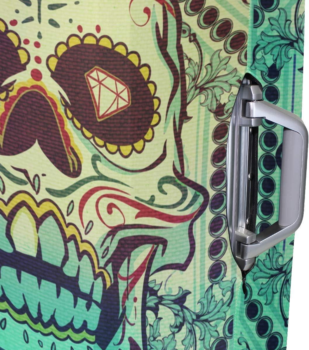Sugar Skull Dia De Los Muertos Luggage Cover Travel Suitcase Protector Fits 18-21 Inch Luggage