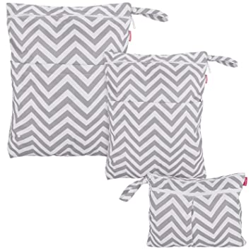 Gray Chevron Damero 3pcs Travel Wet and Dry Bag Organizer with Handle for Cloth Diaper Easy to Grab and Go Swimsuit and More Pumping Parts