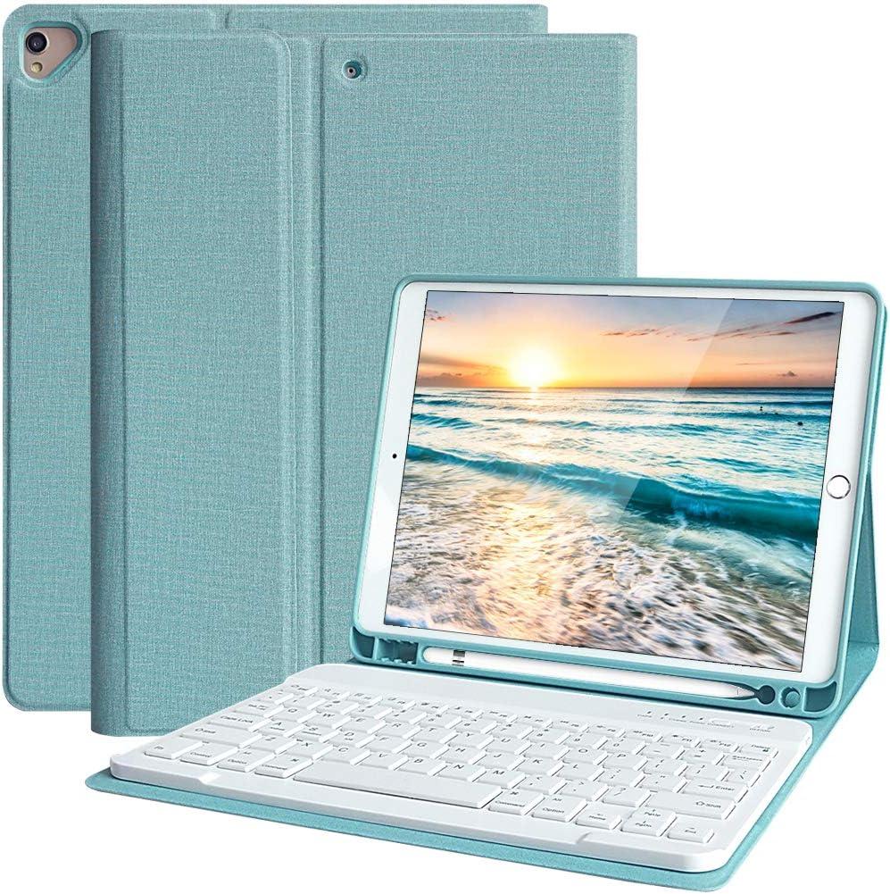 Funda Teclado iPad 10.2, Funda iPad 2020 con Ranura para Lápiz y Español (Incluye Letra Ñ) Teclado Bluetooth Inalámbrico Desmontable para iPad Air ...