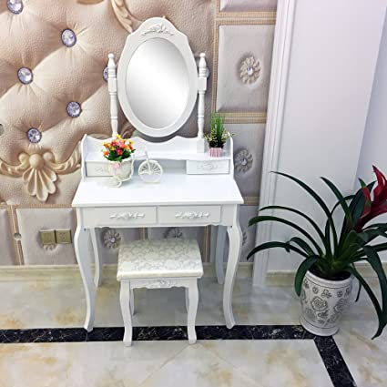 elegant makeup table. Alightup Elegant Dressing Table Makeup Vanity Oval Mirror 4 Drawers White With No Cushioned Stool W