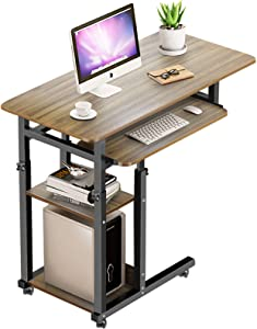 Jitnetiy Height Adjustable Computer Desk with Wheels, C-Shape Laptop Table with Storage Shelves Mobile Side Computer Table for Sofa and Bed