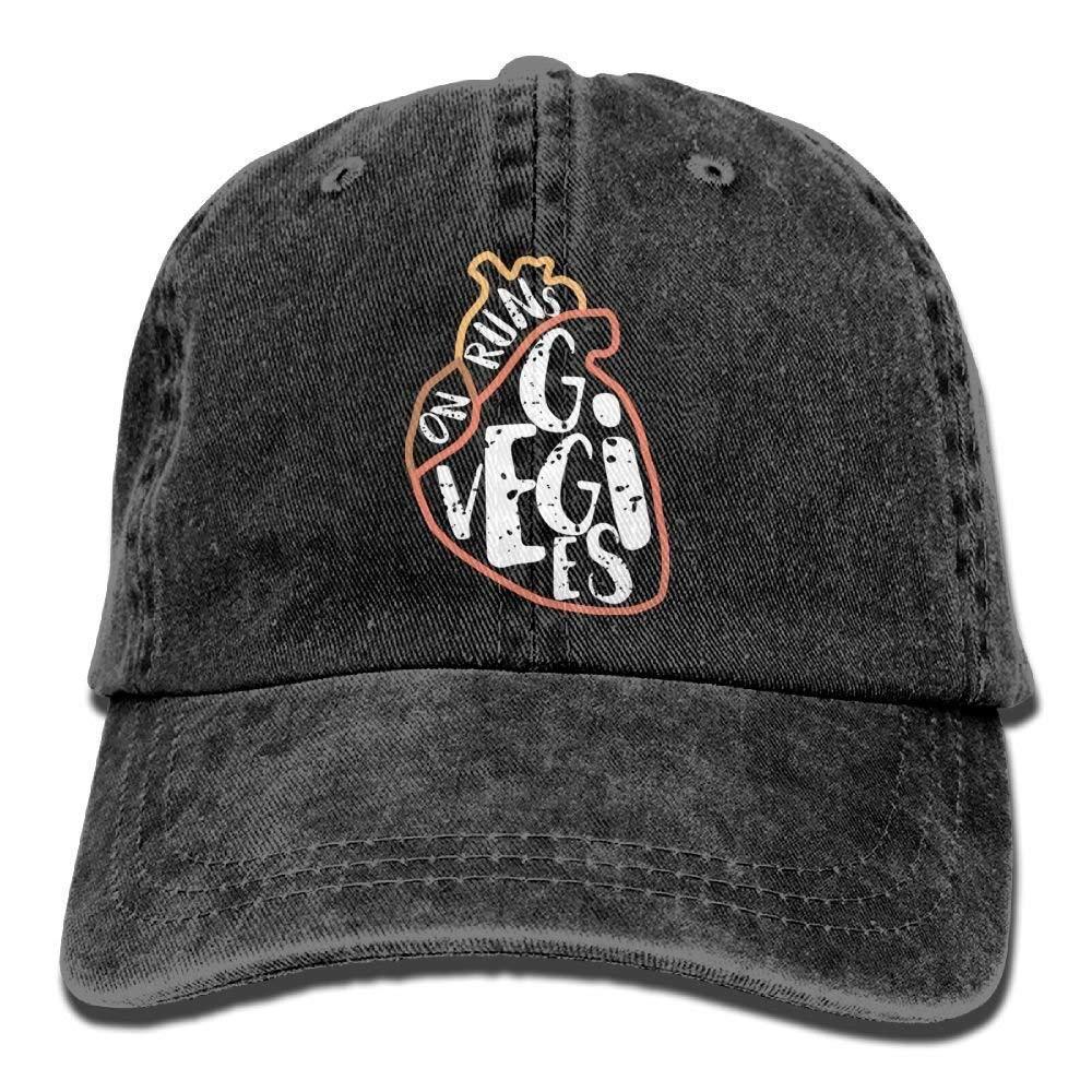 JTRVW Cowboy Hats Runs On Veggies Denim Hat Adjustable Male Surf Baseball Hat