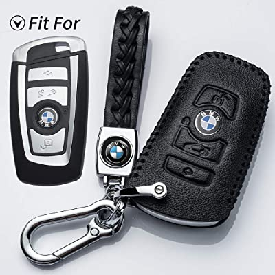 Hey Kaulor for BMW Key Fob Cover, Full Protection Soft Leather Key Fob Case Compatible with 1 3 4 5 6 7 Series and X3 X4 M5 M6 GT3 GT4 Keyless Remote Control Smart Key Fob, Black: Automotive