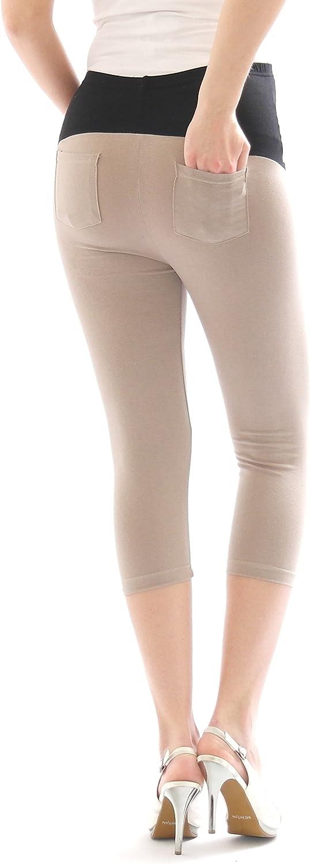 YESET Grossesse Capri 3//4 Leggings Coton Leggings de maternit/é Pantalon avec Poche