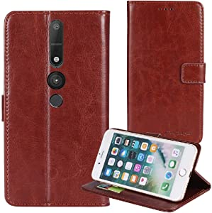 TienJueShi Brown Book Stand Premium Retro Business Flip Leather Protector Case Cover TPU Silicone Etui Wallet for Lenovo Phab 2 Pro 6.4 inch