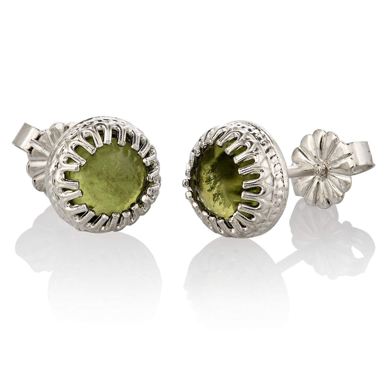 Pendientes de perlas de plata esterlina Pendientes de piedras preciosas de agosto Piedra natural natural Pendientes de plata de ley tama?o 6 mm