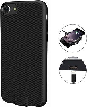 Qi Coque de recharge sans fil pour iPhone 7/6S/6, chargeur sans fil récepteur de recharge coque arrière de protection avec port de charge (11,9 cm)