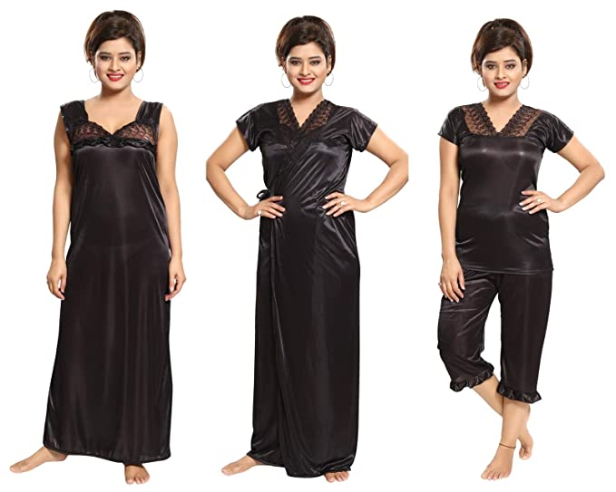 c7b02b23716 Romaisa Women s Satin Nightwear Set of 4 Pcs Nighty