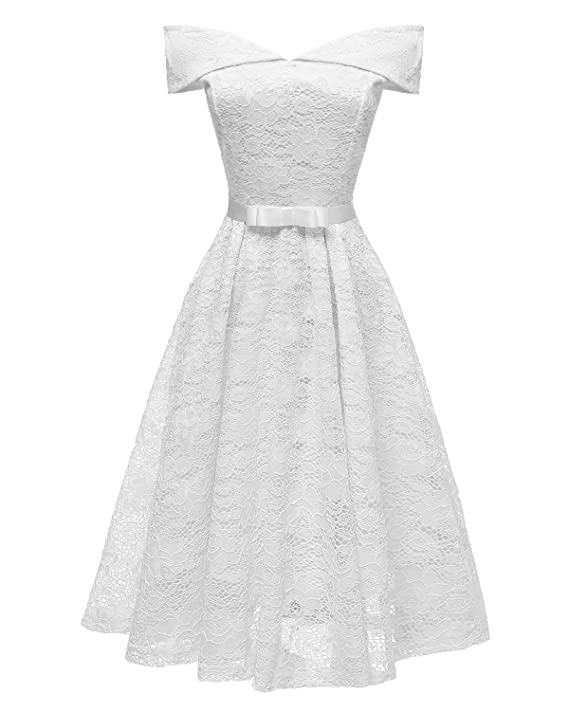 075f57191fa REMASIKO Womens Lace Bridesmaid V Neck Formal Wedding Party Cocktail Midi  Dress at Amazon Women s Clothing store