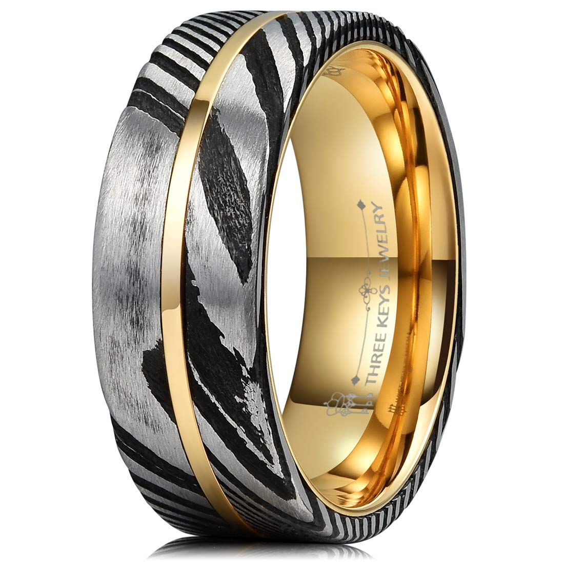 Three Keys Jewelry 8mm Black Damascus Steel Mens Wedding Ring Domed Wood Grain Plated Gold Liner & Inlay Damascus Wedding Band Engagement Ring Size 9