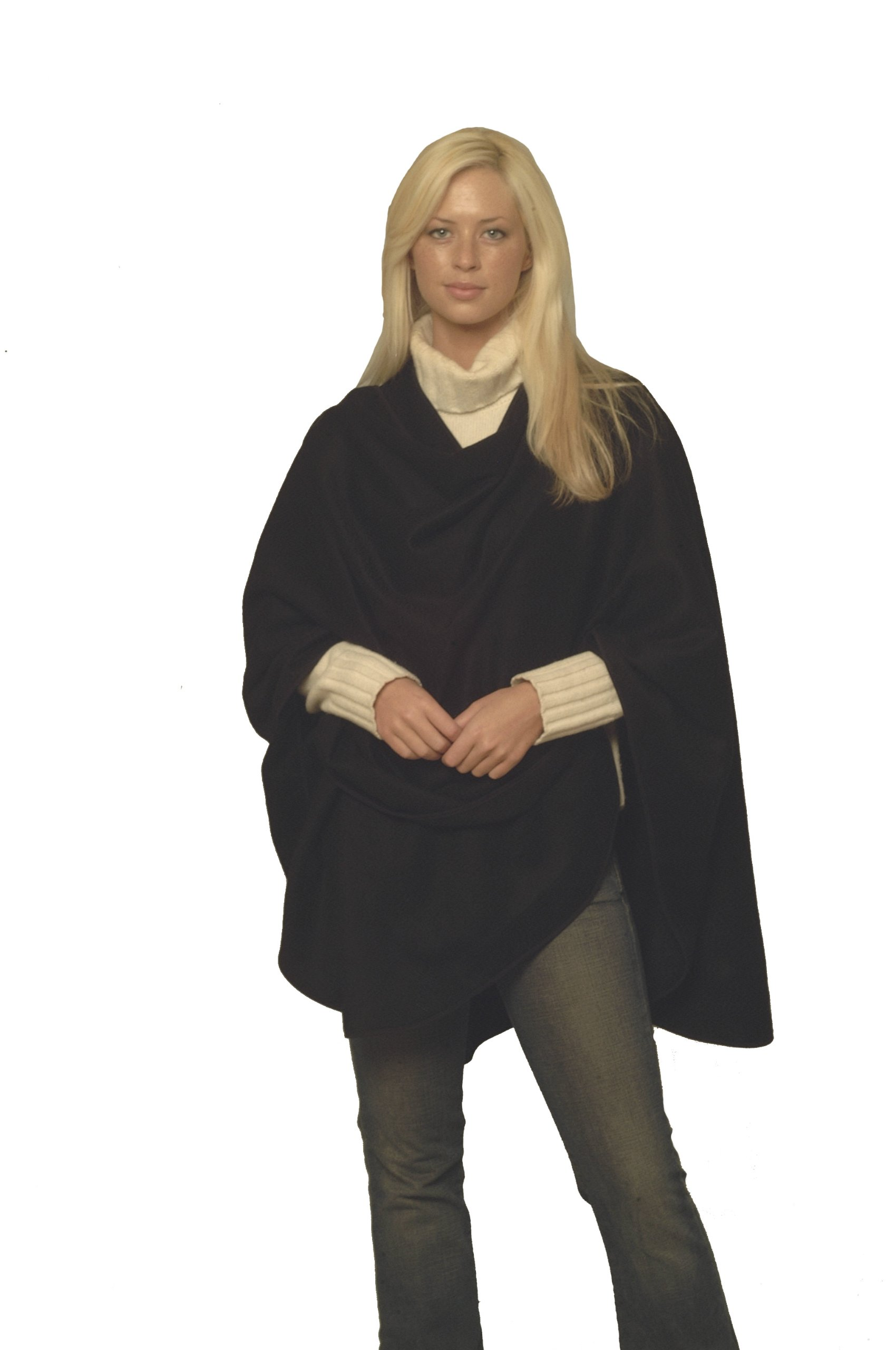 Cashmere Pashmina Group Pure Cashmere Cape with Genuine Leather Trim & Lining (Black)