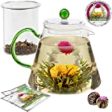 Teabloom Stovetop Safe Glass Teapot with Loose Tea Infuser (34 oz) - Blooming Tea Flowers Included (2) - Blooming Oasis…