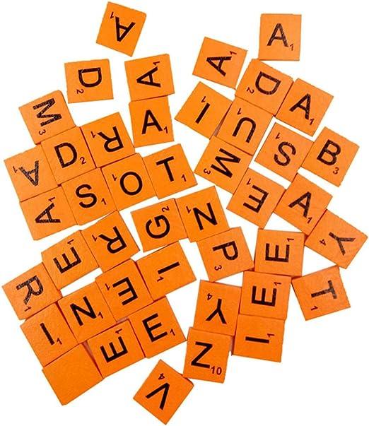 Sukisuki 100 piezas de madera Scrabble azulejos letras negras números para manualidades madera alfabeto, madera, Naranja, talla única: Amazon.es: Hogar
