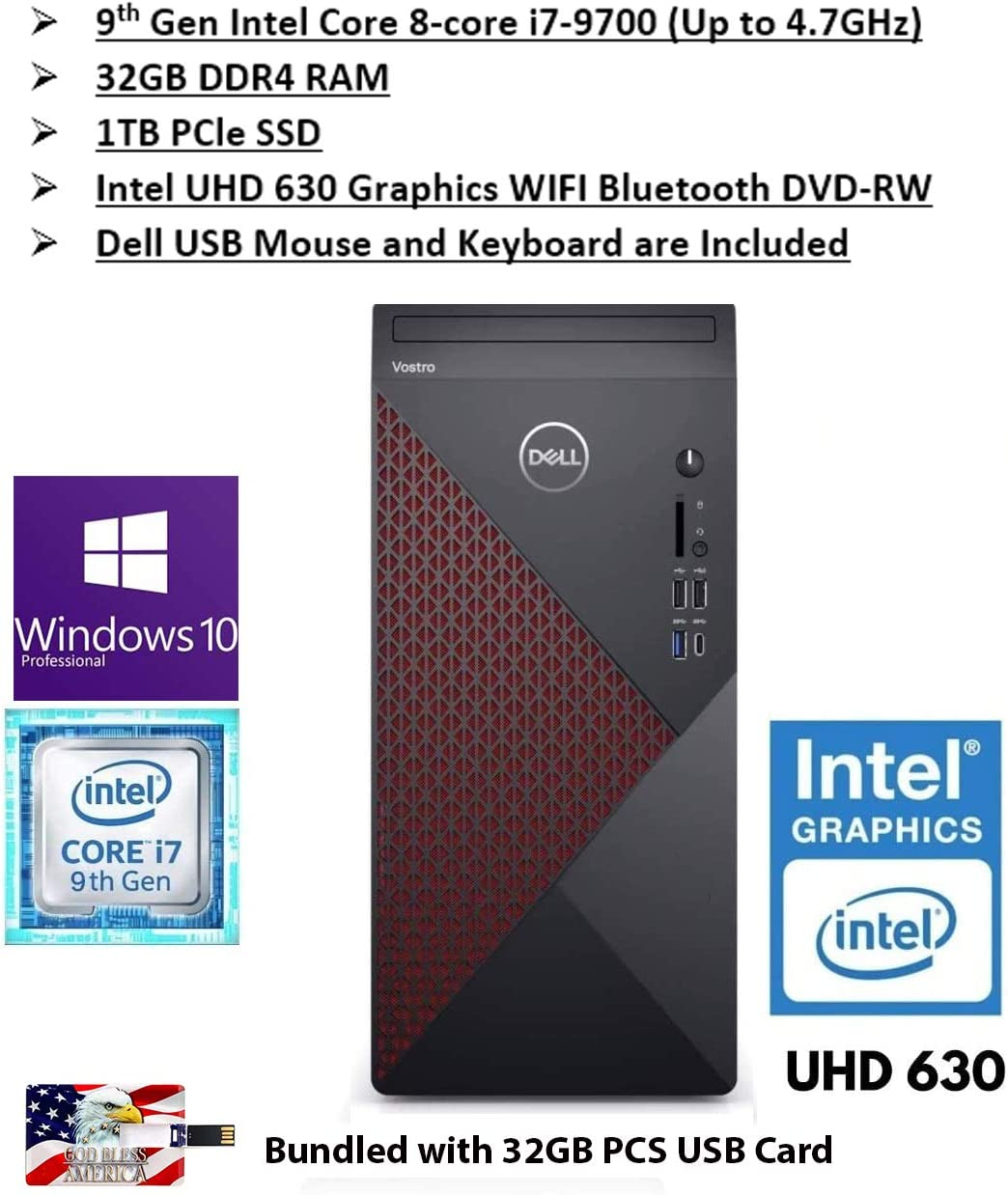 2020 Newest Dell Vostro 5000 Biz Tower Desktop Intel 8-Core i7-9700 Processor(Upto 4.7Gh) 32GB RAM 1TB PCIe SSD Intel UHD 63 WiFi Bluetoot DVD HDMI Win10Pro 32GB PCS USB Card
