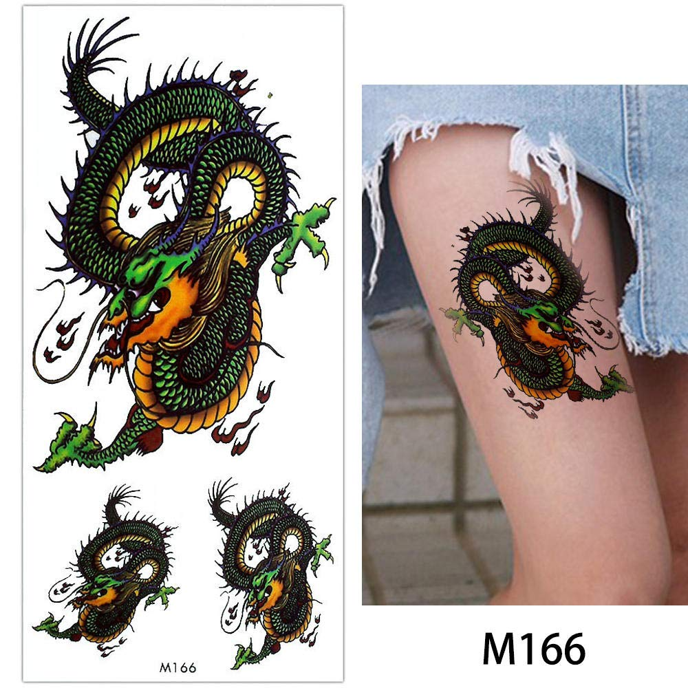 1d52774208ac3 Amazon.com : s12 1 Piece Temporary Tattoo Body Makeup Sticker Fake Dragon  Wolf Snake Decal Arm Neck Art Water Transfer Tattoo 2018 New : Beauty