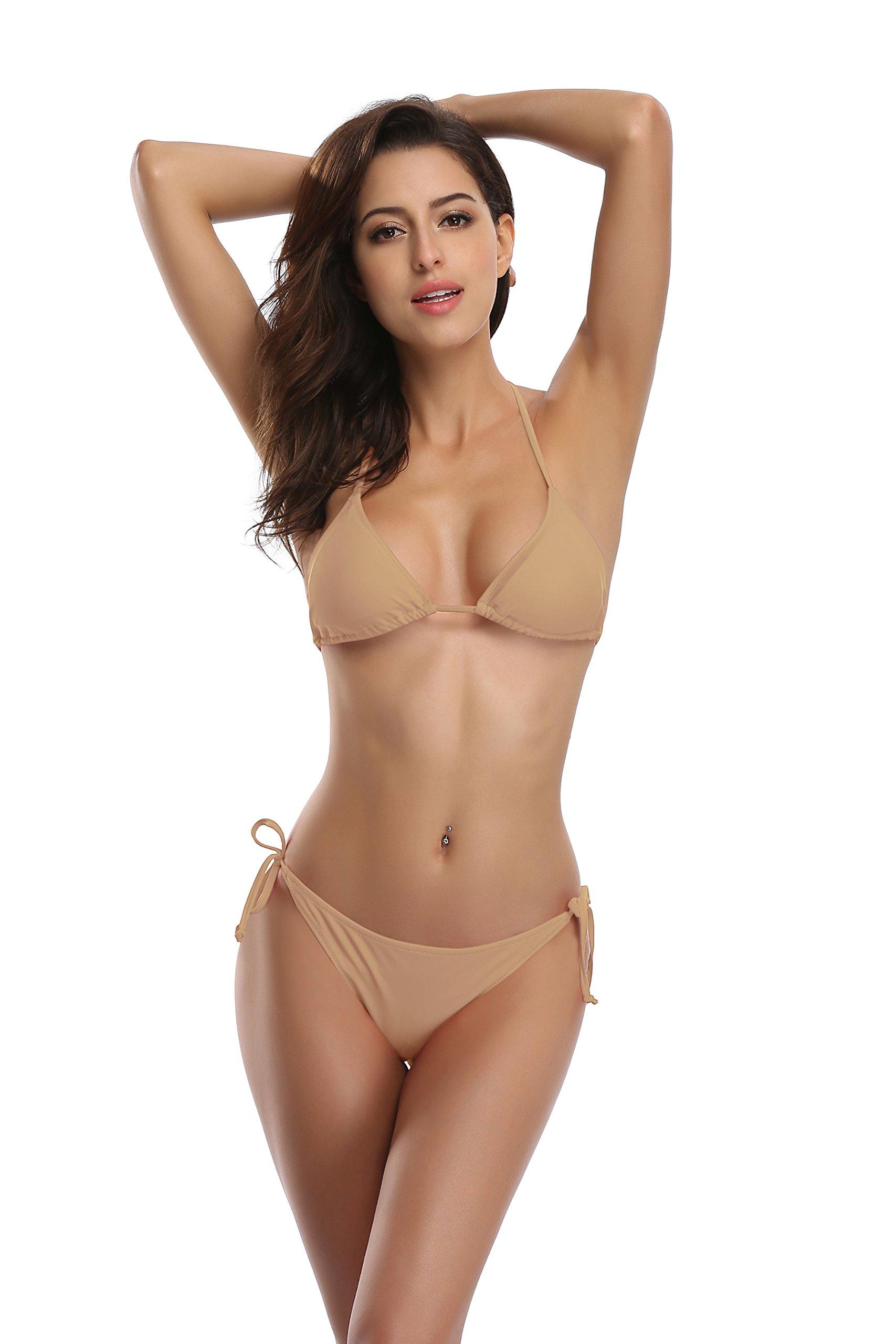 SHEKINI Women's Tie Side Bottom Push up Padded Top Triangle Bikini Bathing Suit (Small, Loas tan)