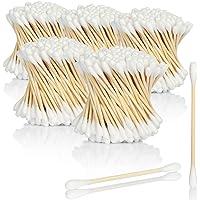 COM-FOUR® 1.000 wattenstaafjes van bamboe, milieuvriendelijke composteerbare verzorgingsstaafjes van bamboe en katoen…