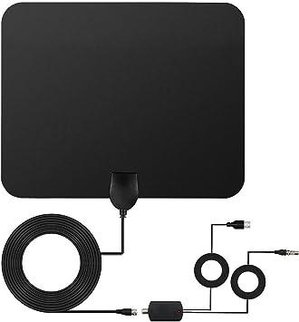 Antena TV Interior, YUTON 50 Millas / 80km Gama de Recepción Amplificador Antena Digital HDTV, 13.1ft (4M) Cable Alto Rendimiento y Amplificador de ...
