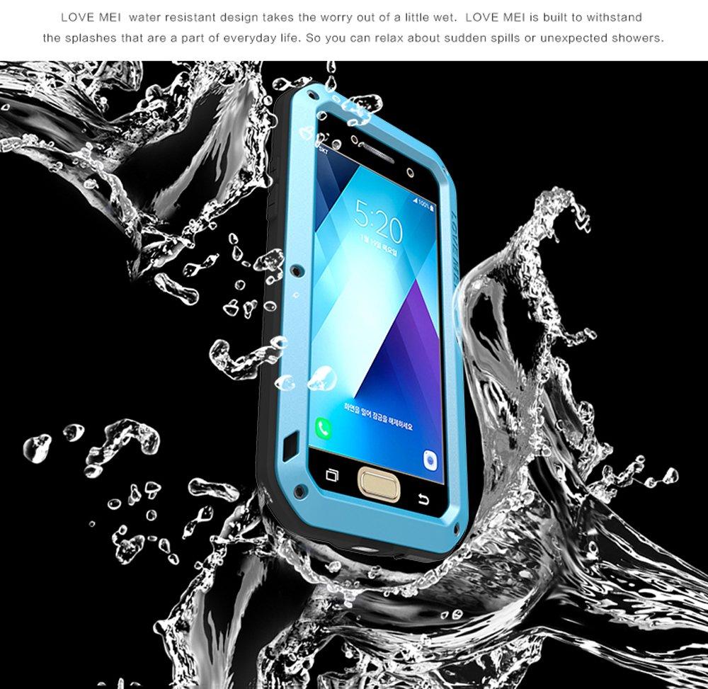 Extreme Alta Resistencia Protector Shockproof Military Heavy Duty Carcasa con Cristal de Gorila para Samsung Galaxy A520 A5 2017 Version Rojo LOVE MEI Samsung A5 2017 Funda