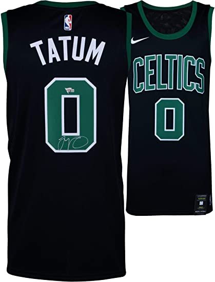 premium selection 497d6 078ea Jayson Tatum Boston Celtics Autographed Nike Black Swingman ...