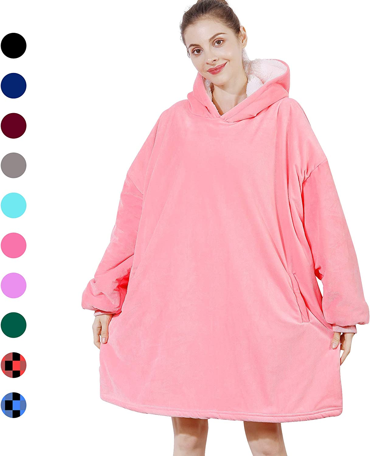 AmyHomie Blanket Sweatshirt, Oversized Sherpa Hooded Sweatshirt,Wearable Fleecehug Hoodie Blanket with Pocket for Adults & Kids & Teen