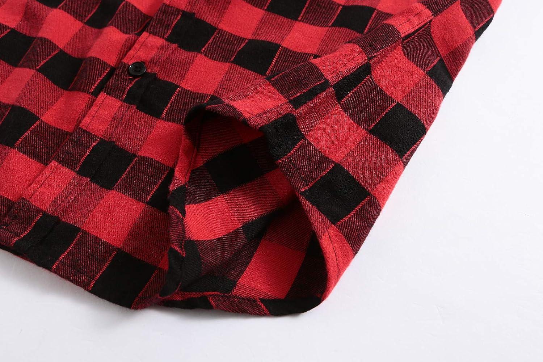 KateSui Mens Casual Flannel Cotton Slim Fit Long Sleeve Button Down Plaid Dress Shirt