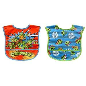Neat Solutions 2 Piece Water Resistant Toddler Bib Set, Teenage Mutant Ninja Turtle