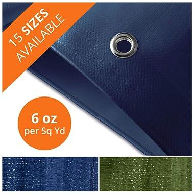 Tarps Medium Duty Waterproof | Ground Tent Trailer Cover | Large Tarpaulin in Multiple Sizes | 6 oz/Sq Yd | Blue - 16' x 20'