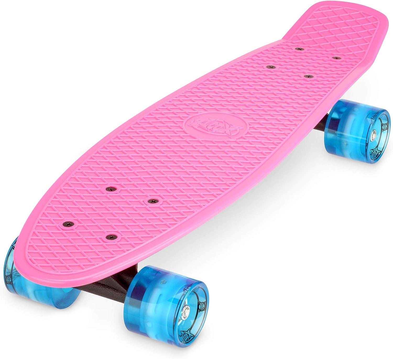 Xootz Skateboard Complet pour Enfant en Plastique Style r/étro avec Roues /à Del