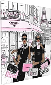 African American Wall Art Black Girl Pink Canvas Prints Modern Fashion Women Art Contemporary Painting Stylish Feminine Framed Artwork Wall Decor for Girls Room Home Decoration 12x16inch