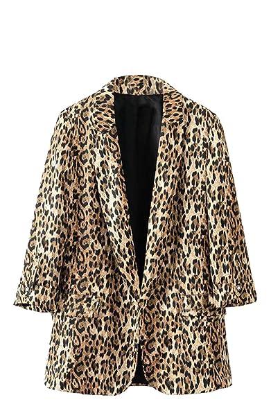 Fasumava Chaqueta De Mujer con Estampado De Leopardo ...