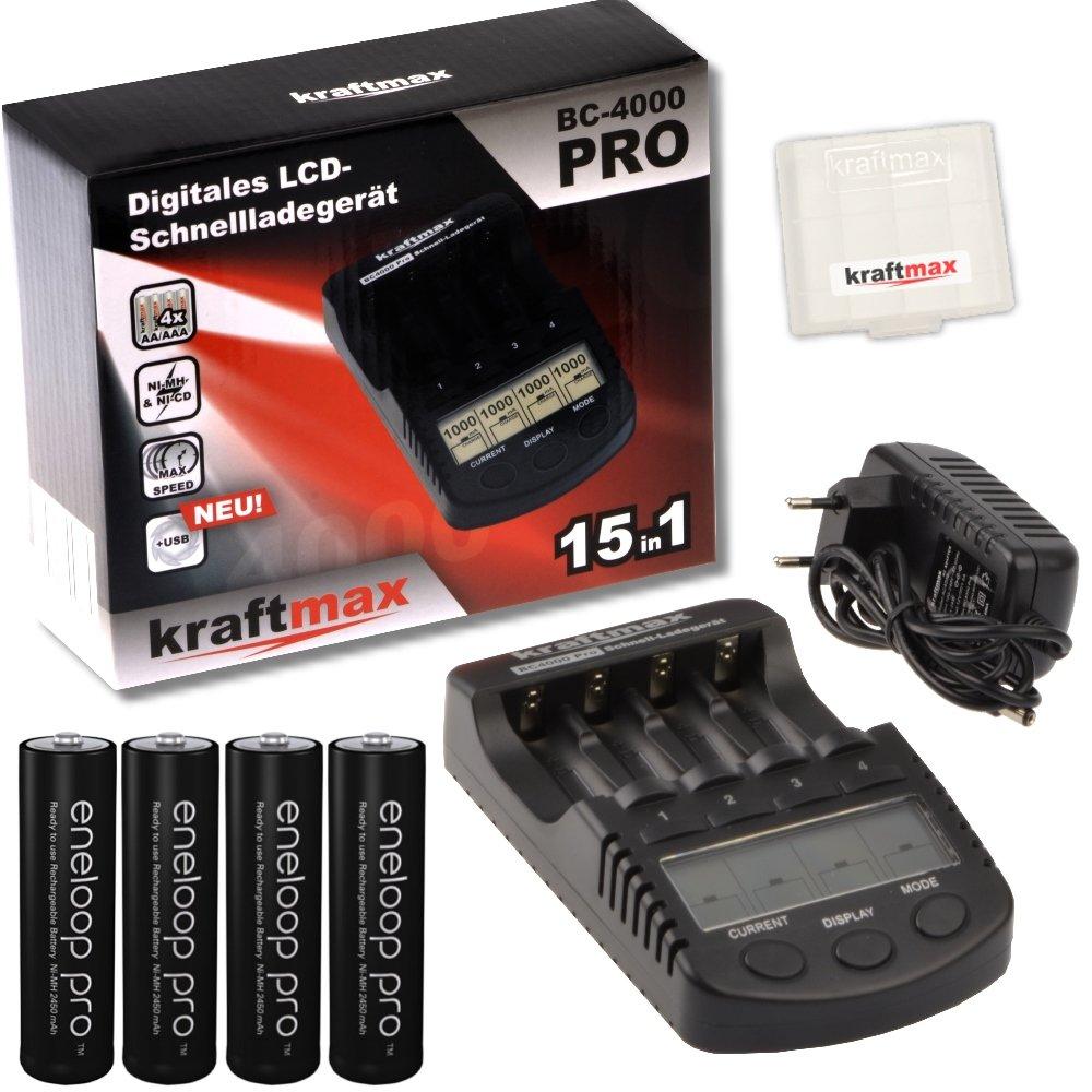 Kraftmax BC-4000 Pro - Cargador con 4 baterías Eneloop Pro XX AA