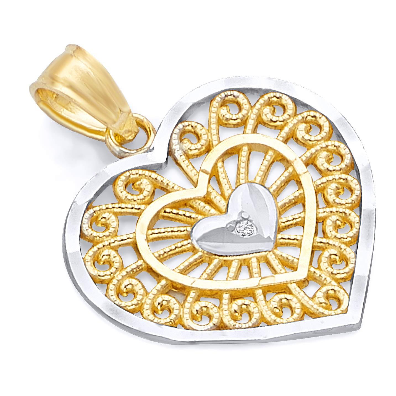 14k Two Tone Gold Heart Charm Pendant