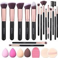Akstore Makeup Brushes 16 Pcs Makeup Brush Set Travel makeup brush set with 4 Makeup Sponge Blender 2 Makeup Foundation…