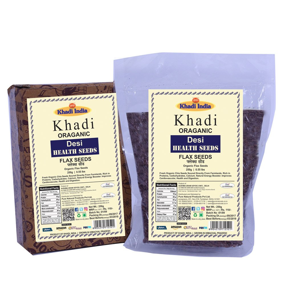 Khadi Organic Flax Seeds (Linseed) 250 GM - Natural, Gluten-Free, High-Fibre, Healthy Organic Food Rich in Carbohydrates, Calcium, Good for Heart & Digestion