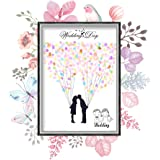 指紋ツリー署名キャンバス絵画 指紋署名 指紋サインで作れる絵画 ウェディングツリー 結婚式の装飾 パーティーウェディング用品 築いて愛の巢 プレゼント ギフト(HK007)