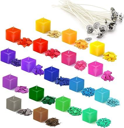 18 chips de cera para velas de soja con 20 mechas de vela, tinte de color para derretir cera, velas de bricolaje, 5 g cada paquete (18 colores)