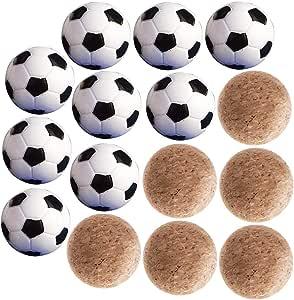 9pcs Mini Pelotas Fútbol 32mm de Plástico + 6pcs Pelota Futbolín 36mm de Madera Futbolín Bolas Reemplazables para Actividades Deportivas Balompié de Tabla Fútbol de ...