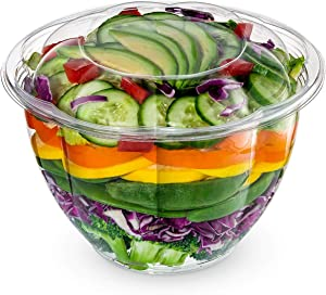 [50 Sets] 48 oz. Plastic Salad Bowls To Go With Airtight Lids