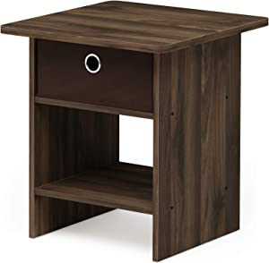 FURINNO Dario End Table/Night Stand Storage Shelf, 1-Pack, Columbia Walnut/Dark Brown