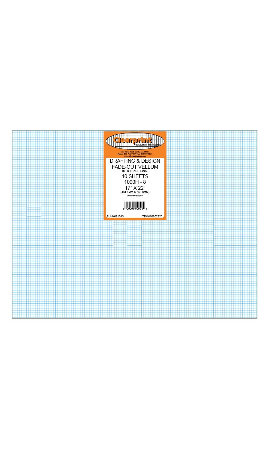 Clearprint 1000H Design Vellum Sheets with Printed Fade-Out 8x8 Grid, 16 Lb., 100% Cotton, 17 x 22 Inches, 10 Sheets Per Pack, 1 Each (10202220) by Clearprint