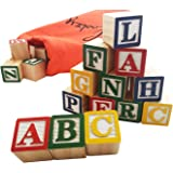 Skoolzy 30 Wood Alphabet Blocks - Stacking ABC Letter Colors Wooden Blocks For Toddlers - Montessori Occupational Therapy Building Toys - Preschool Learning Toys Kindergarten Reading with Travel Tote