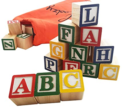Skoolzy 30 Wood Alphabet Blocks - Stacking ABC Letter Colors Wooden Blocks  For Toddlers - Montessori 2eebc3f8b8915