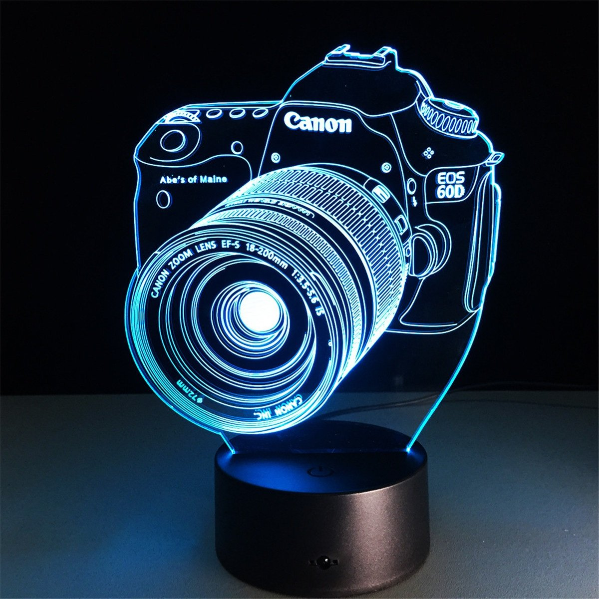 Camera 3D LED Night Lamp visualization Illusion 7 Color Change Touch Button Switch USB Powered Amazing Art Optical Unique Lighting Effects Desk Table Night Light for Bedroom Home Decor
