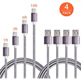 Type C Cable,Ofspower 4Pack 1ft 3ft 6ft 10ft Nylon Braided USB C Data & Charging Cable with Aluminum Connector for Nexus 6P/5X, LG G5, OnePlus 2 and More (Black)