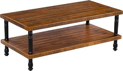 Olee Sleep Rustic Wood Coffee Cocktail Coffee Table, Brown